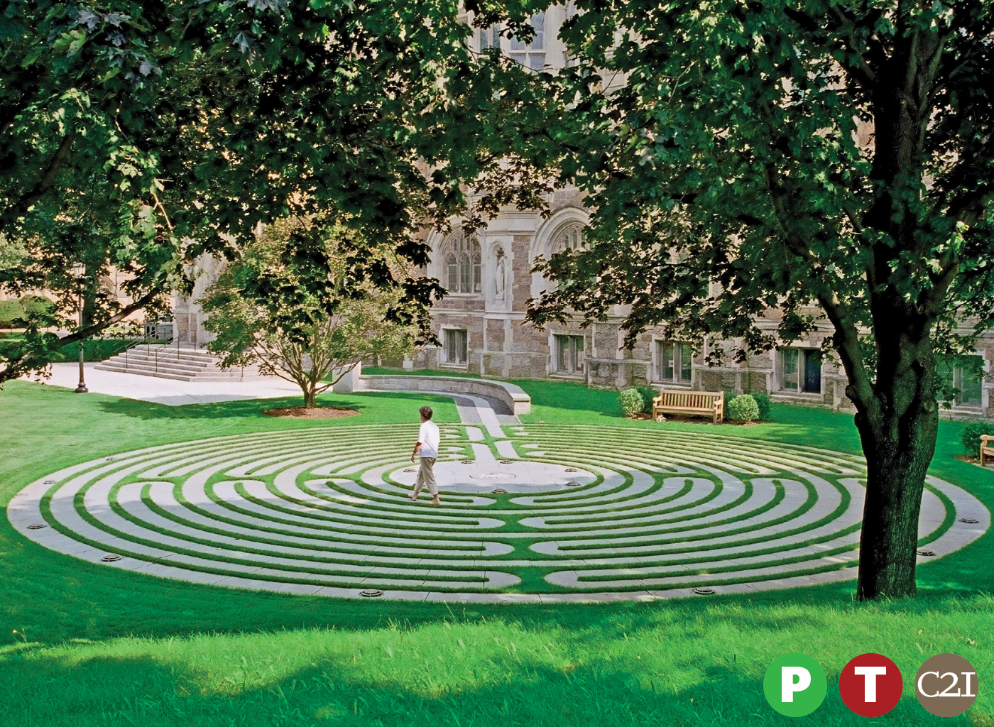 Person walking on meditation labyrinth