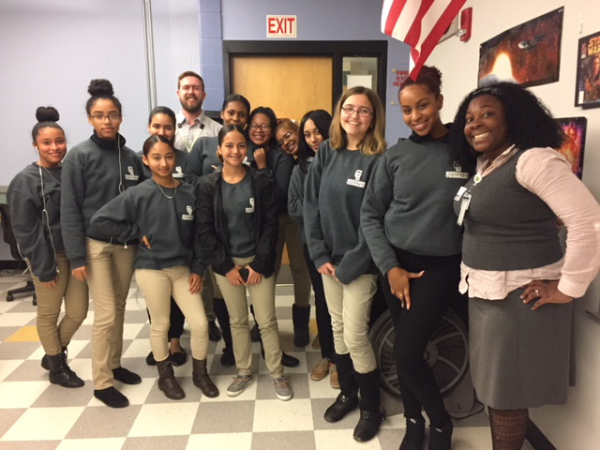Ryan Mossman with students at Greater Lawrence Technical School