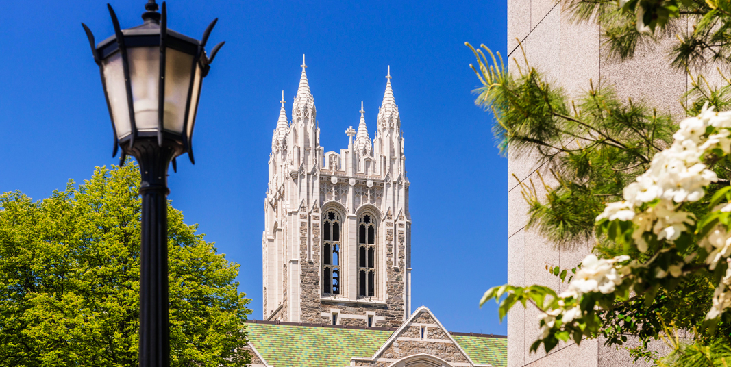 Gasson Hall with flowers