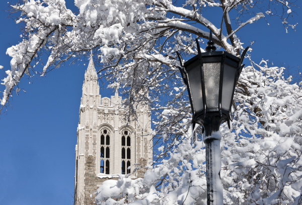 Gasson Hall after snow
