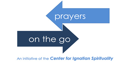 blue arrows with prayers on the go text