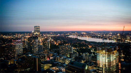 photo of Boston skyline at dusk, taken from the BC Club