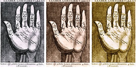 Drawing of hand in 3 different tones: black and white, red, yellow