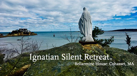 Photo looking out at Cohasset water with blue and white sky; text reads Ignatian Silent Retreat, Bellarmine House: Cohasset MA