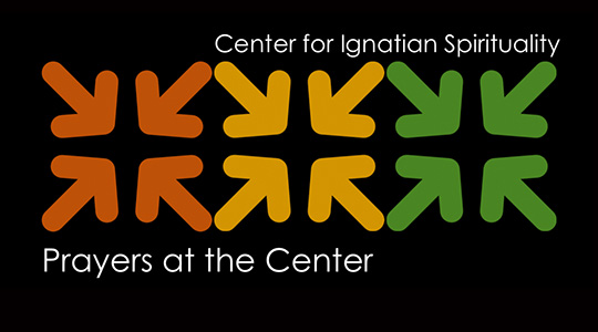 "Orange, yellow, and green arrows that point in, with text that reads ""Center for Ignatian Spirituality&#x3b; Prayers at the Center"""