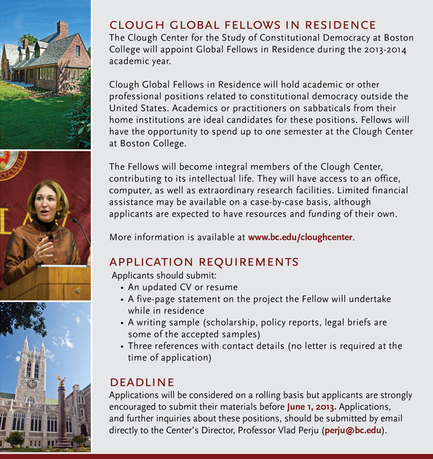 Clough Global Fellows in Residence | Call for Applications | Deadline June 1, 2013 | www.bc.edu/cloughcenter for more information