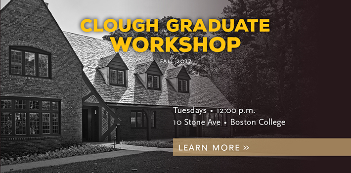 Clough Graduate Workshop, Tuesdays at noon, Click here for the full schedule