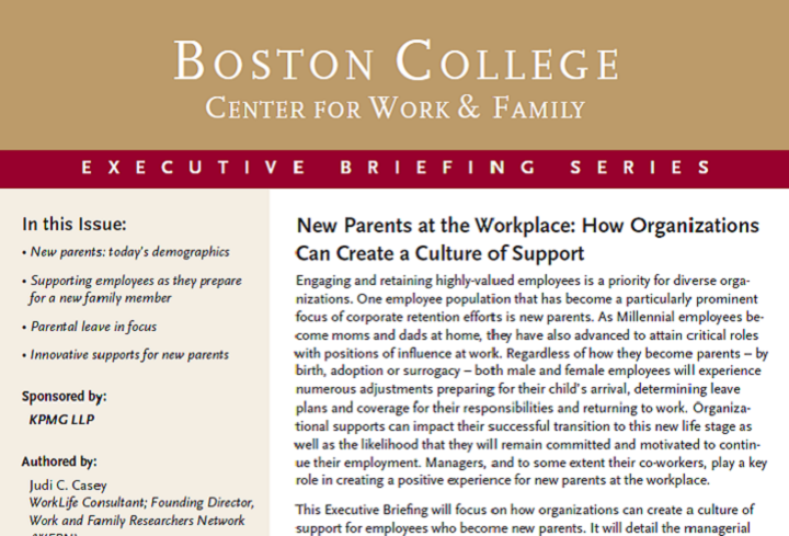 Supports for New Parents Executive Briefing