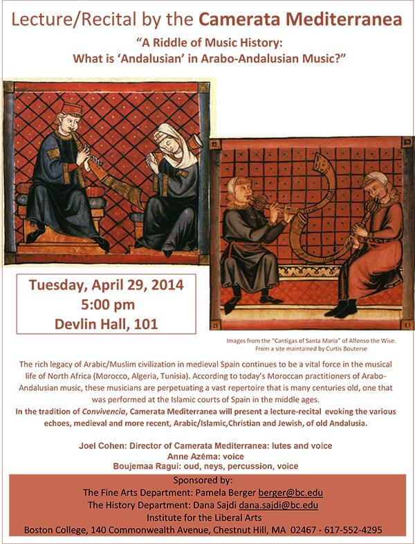 Camerata Mediterranea Lecture/Recitial | February 18 at 4:00 pm | Gasson 100, Boston College
