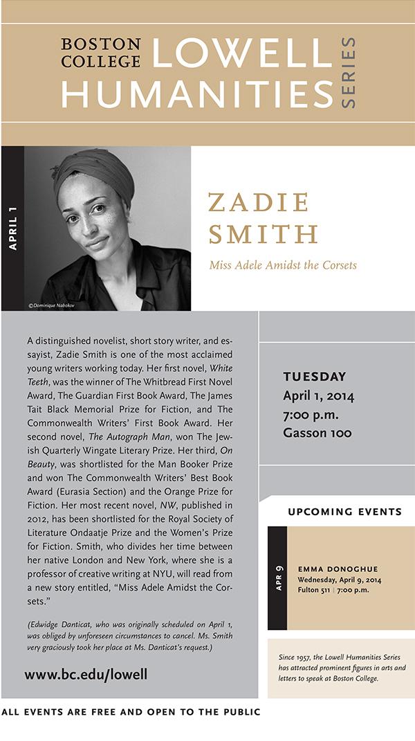 Boston College Welcomes Zadie Smith | April 1, 2014 at 7:00 p.m. | Gasson Hall, Room 100, Boston College