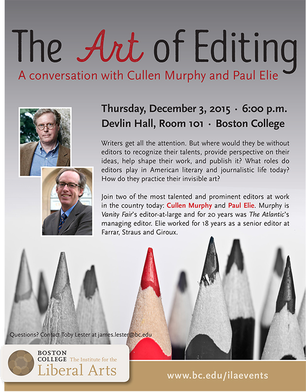 The Art of Editing | December 3 at 6:00 pm | Devlin Hall, Room 101, Boston College