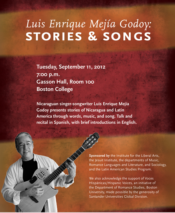 Luis Enrique Mejía Godoy: Stories & Songs | Tuesday, September 11 at 7:00 p.m. | Gasson Hall, Room 100, Boston College