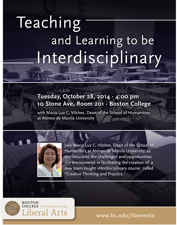 Teaching and Learning to be Interdisciplinary | October 28 at 4:00 pm | 10 Stone Ave, Room 201, Boston College