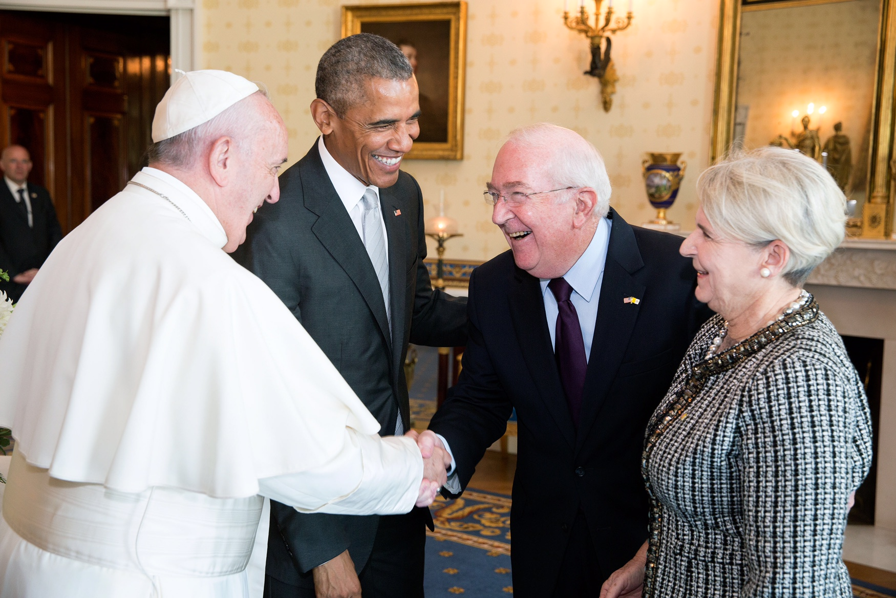 Ambassador Hacket, our keynote speaker, greets Pope Francis and President Obama