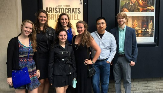 Boston College students pictured at the Abbey Theatre