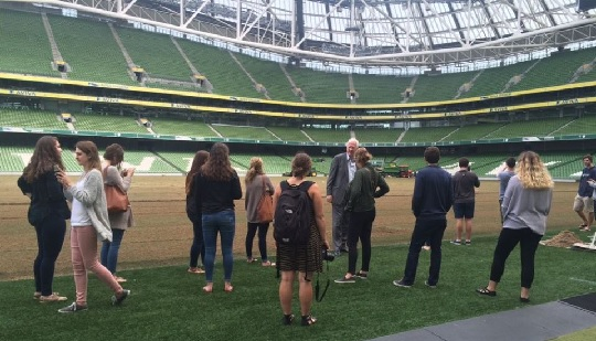 Boston College students tour the Aviva Stadium with Stadium Director, Martin Murphy