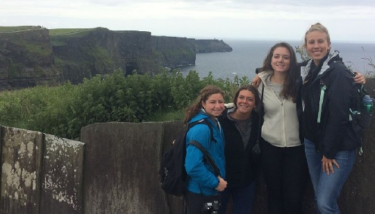 Boston College students visit the Cliffs of Moher