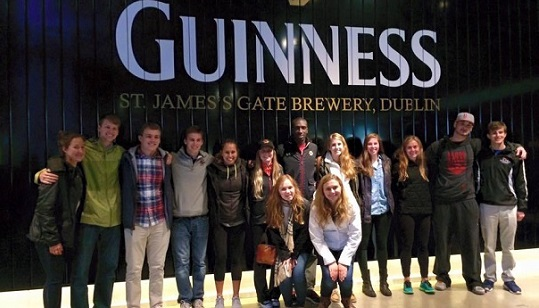Boston College students visit the Guinness Storehouse
