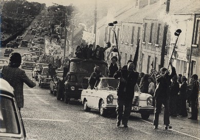 1974 Longford Champions parading through Edgeworthstown