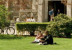 2 students on Bapst lawn