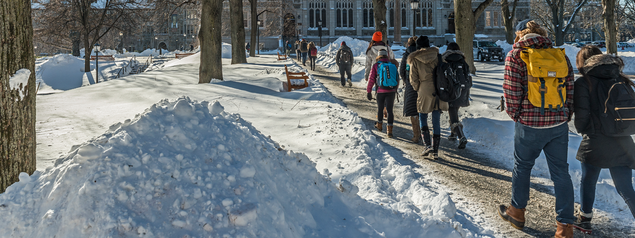BC students walking on a snowy day