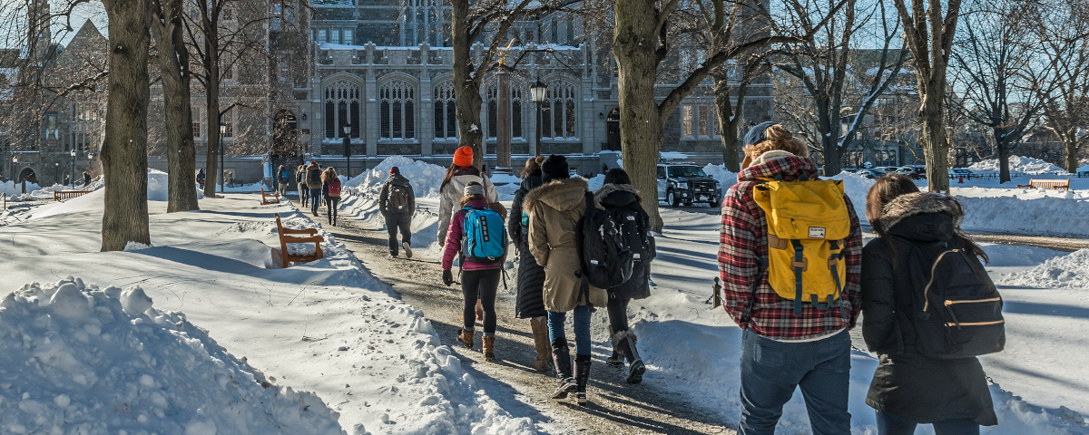 Students on campus during a snowday