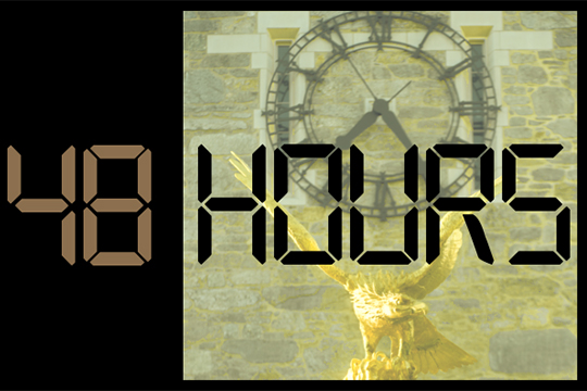"""48 Hours"" on background of clock and golden eagle"
