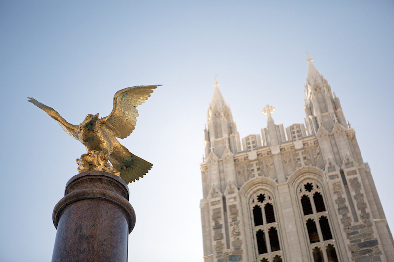 Boston College eagle statue in front of Gasson Hall