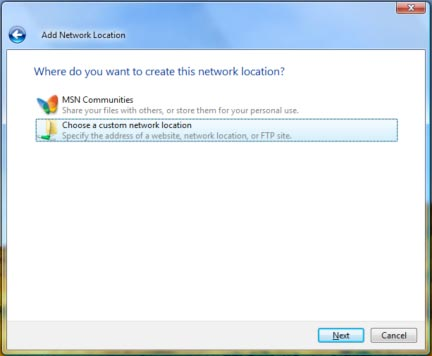 Choose a custom network location