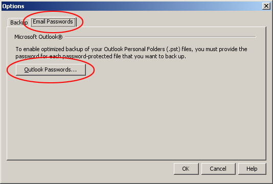 Outlook password options