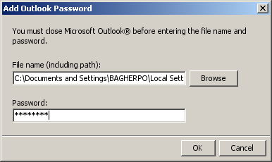 Add Outlook password