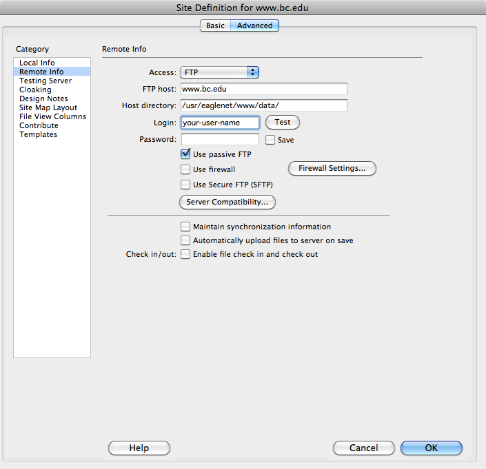 Dreamweaver remote info dialogue box