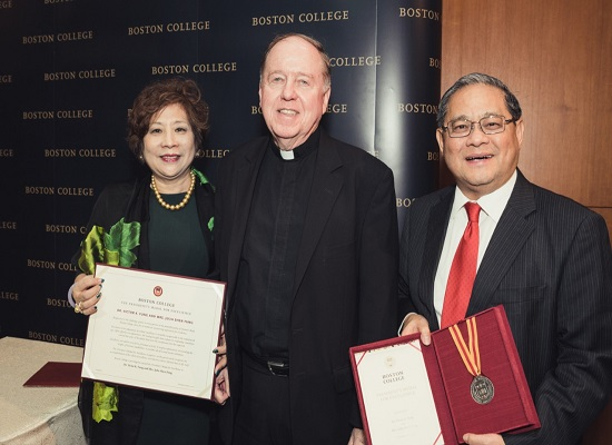 Victor and Julia Fung with Fr. Leahy
