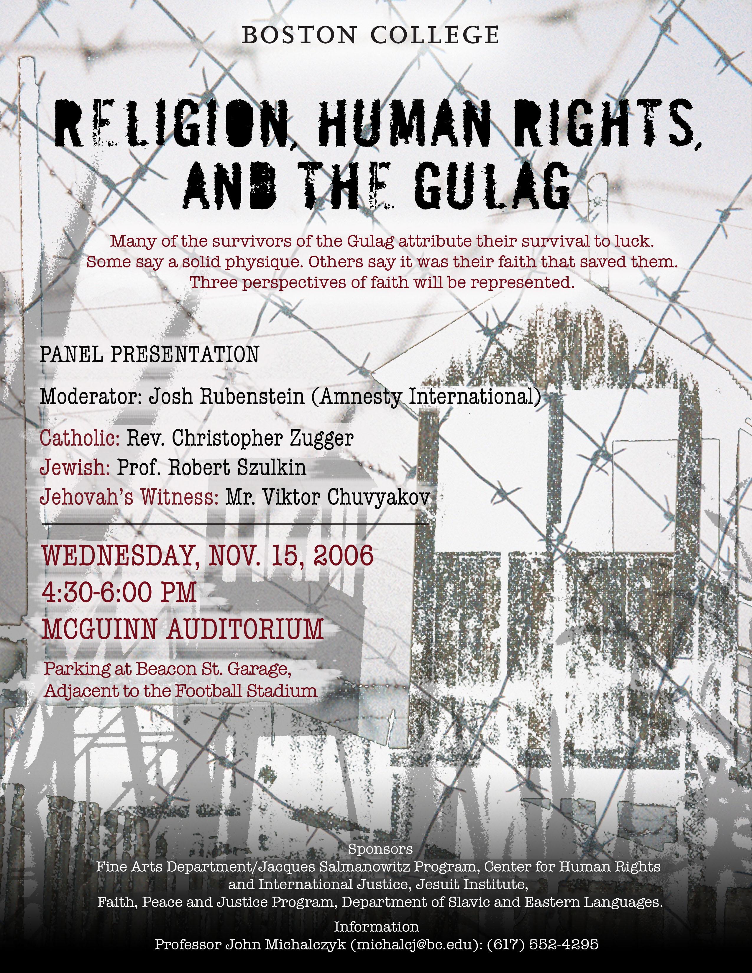 Promotional Poster: Religion, Human Rights, and the Gulag