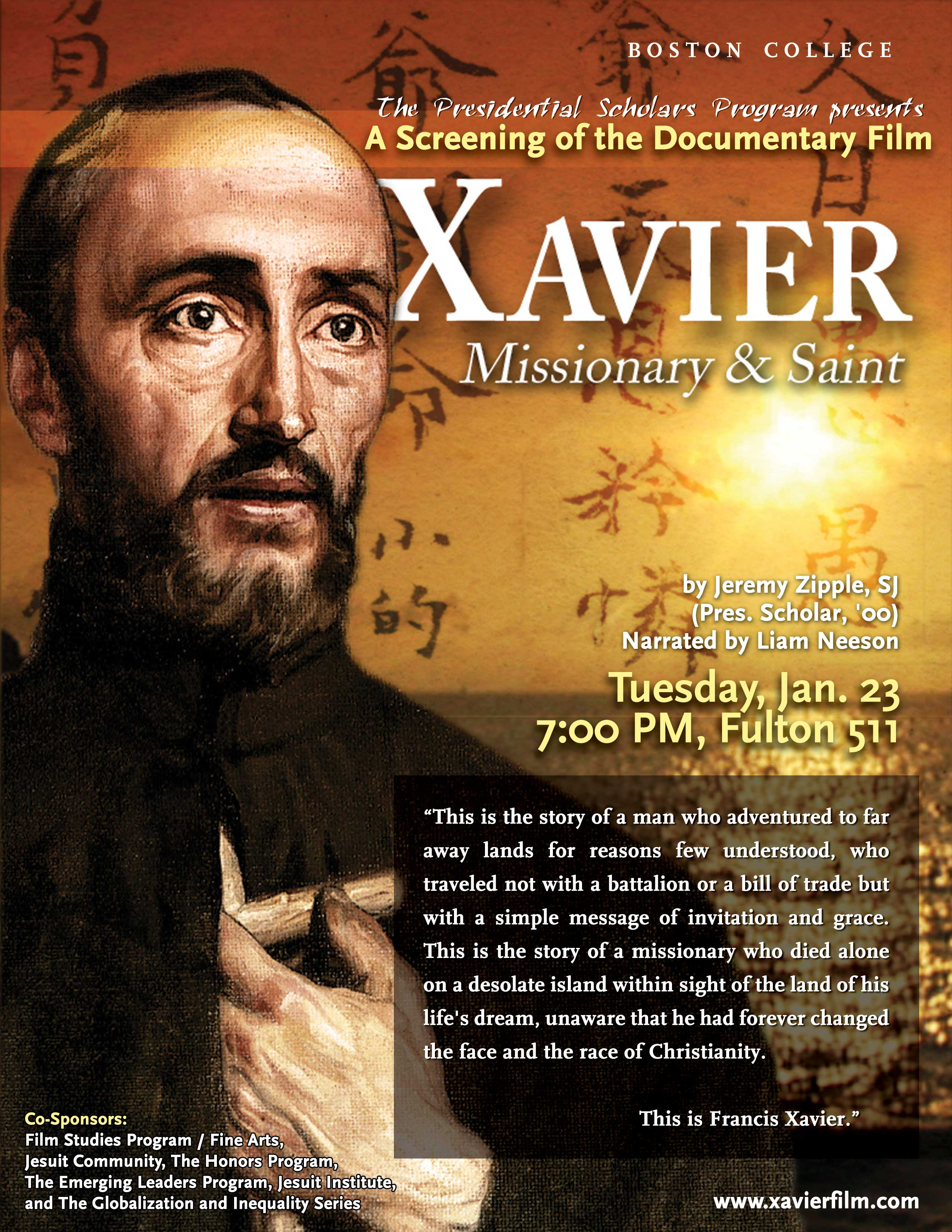 Screening Promotional Poster for Documentary Film, Xavier, Missionary and Saint