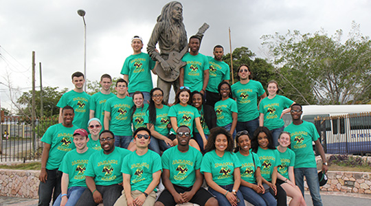 BC students in front of Bob Marley statue