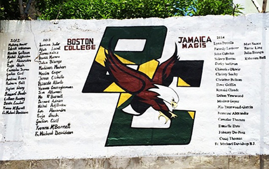 Wall in Jamaica with names of students who have participated on a Jamaica Magis trip