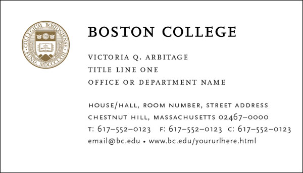 Boston College Business Cards