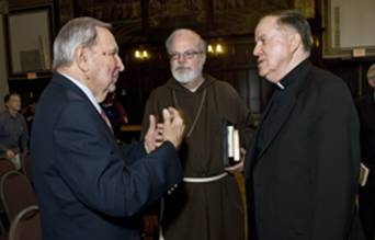 Historian Tom O'Connor, Cardinal Sean O'Malley, President William P. Leahy, SJ