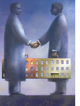 illustration--two men shaking hands