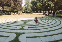Child running on the labyrinth
